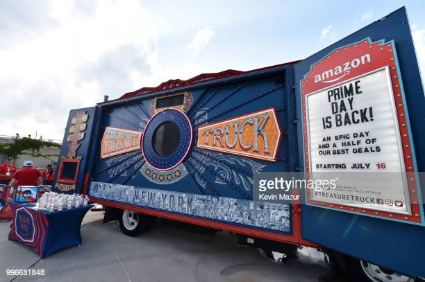 View of the atmosphere at the Amazon Music Unboxing Prime Day event on July 11 2018 in Brooklyn New York