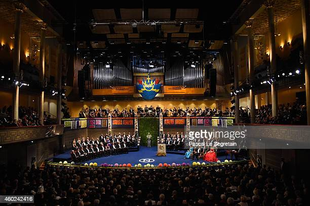 A view of the atmosphere at the Nobel Prize Awards Ceremony at Concert Hall on December 10 2014 in Stockholm Sweden