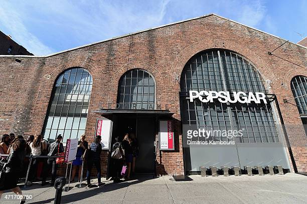 A view of the atmosphere at the POPSUGAR Digital Newfront 2015 at Cedar Lake on April 30 2015 in New York City