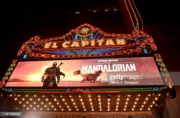 """View of the atmosphere at the premiere of Lucasfilm's first-ever, live-action series, """"The Mandalorian,"""" at the El Capitan Theatre in Hollywood,..."""