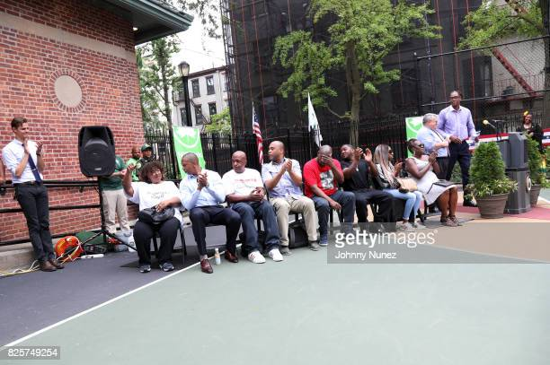 A view of the atmosphere at the ribbon cutting ceremony at Crispus Attucks Playground on August 2 2017 in the Brooklyn borough of New York City NYC...