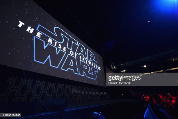 A view of the atmosphere at The Rise of Skywalker panel at the Star Wars Celebration at McCormick Place Convention Center on April 12 2019 in Chicago...