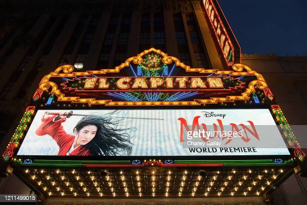 View of the atmosphere at the World Premiere of Disney's 'MULAN' at the Dolby Theatre on March 09, 2020 in Hollywood, California.