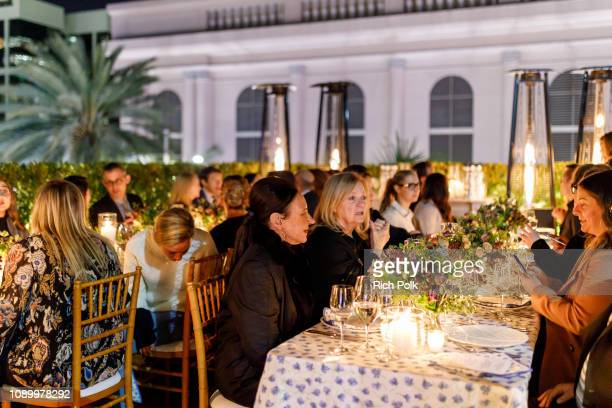 A view of the atmosphere during an intimate dinner for Amy Adams and Patricia Clarkson hosted by Tory Burch and Clase Azul at Tory Burch on January 4...