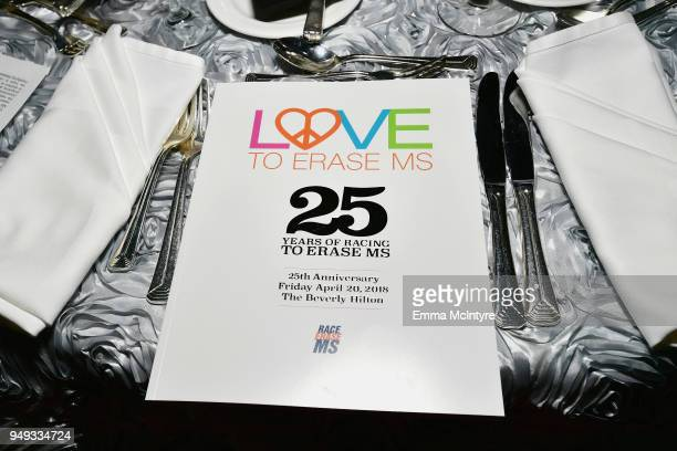 View of the atmosphere during the 25th Annual Race To Erase MS Gala at The Beverly Hilton Hotel on April 20 2018 in Beverly Hills California
