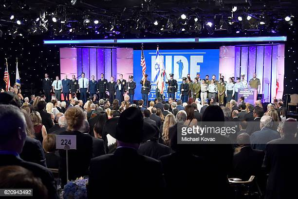 A view of the atmosphere during the Friends Of The Israel Defense Forces Western Region Gala at The Beverly Hilton Hotel on November 3 2016 in...