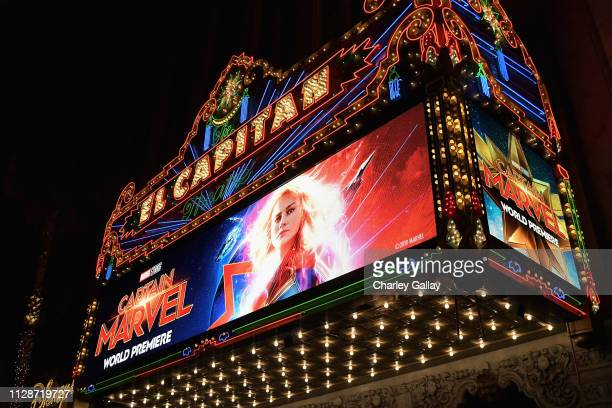 A view of the atmosphere during the Los Angeles World Premiere of Marvel Studios' Captain Marvel at Dolby Theatre on March 4 2019 in Hollywood...