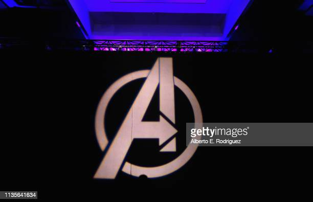 A view of the atmosphere onstage during Marvel Studios' Avengers Endgame Global Junket Press Conference at the InterContinental Los Angeles Downtown...