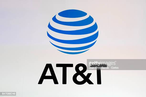 A view of the ATT company logo on their stand during the Mobile World Congress on March 1 2017 in Barcelona Spain