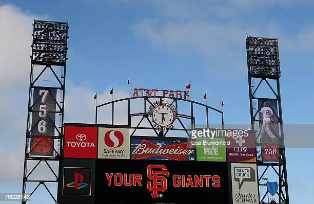 A view of the ATT Park scoreboard before the game between the San Francisco Giants and the Washington Nationals on August 8 2007 at in San Francisco...