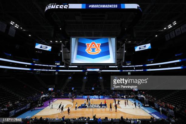 A view of the Auburn Tigers during practice before the First Round of the NCAA Basketball Tournament at Vivint Smart Home Arena on March 20 2019 in...