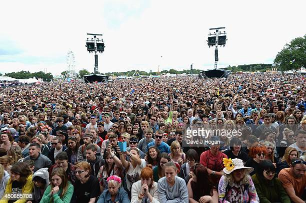 View of the audiance during the performance of Passenger during Day 3 at the Isle of Wight Festival at Seaclose Park on June 15 2014 in Newport Isle...