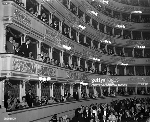 View of the audience as they attend a performance at the opera house La Scala Milan Italy 1948