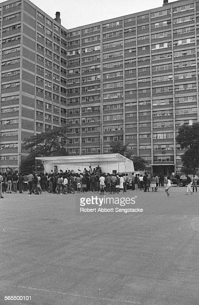 View of the audience at a performance by Phil Cohran and the Artistic Heritage Ensemble at Cabrini Green Chicago Illinois 1968 or 1969