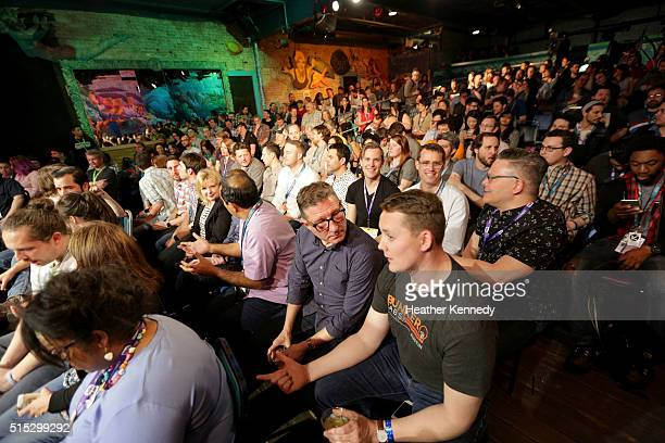 View of the audience at HarmonQuest during the 2016 SXSW Music, Film + Interactive Festival at Esther's Follies on March 12, 2016 in Austin, Texas.