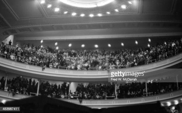 View of the audience at the 'A Tribute to Woody Guthrie' concert at Carnegie Hall New York New York January 20 1968