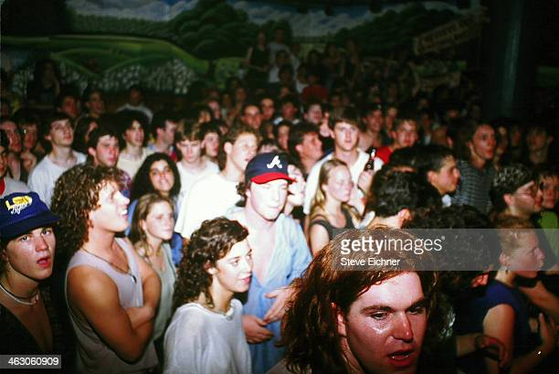 View of the audience during a performance by the band Phish at the Wetlands Preserve nightclub New York New York June 9 1990