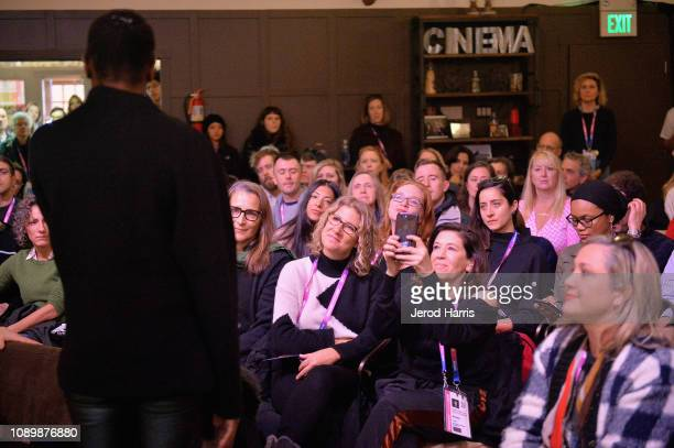 A view of the audience during the Can Art Save Democracy Panel during the 2019 Sundance Film Festival at Filmmaker Lodge on January 26 2019 in Park...