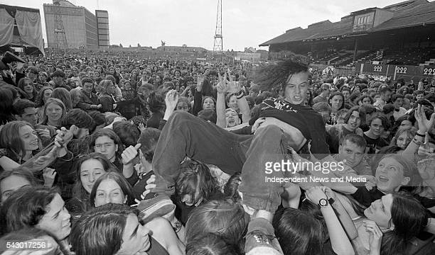 View of the audience during the Red Hot Chili Peppers' set at Sunstroke festival in Dalymount Dublin Ireland August 25 1994