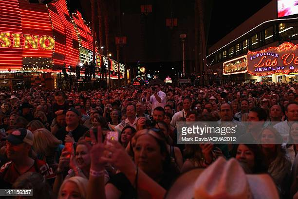 View of the audience while Luke Bryan performs onstage during the Academy of Country Music concerts on Fremont at the Fremont Street Experience on...
