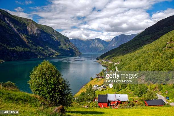 View of the Aurlandsfjord near Flam , Sognefjord, West Norway, Norway