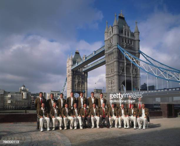 View of the Australian Cricket Team posing for their Official Photograph in front of Tower Bridge in London during the Ashes Tour of England 18th...