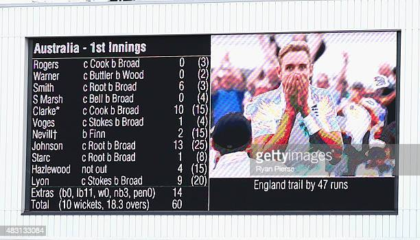 A view of the Australian scorecard showing Stuart Broad of England on the screen during day one of the 4th Investec Ashes Test match between England...