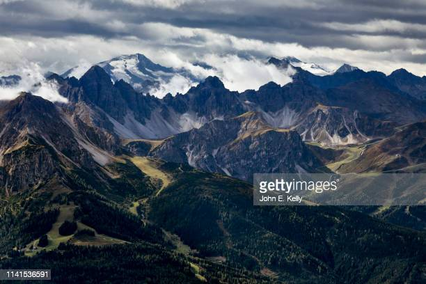 view of the austrian alps from the nordkette mountain range above innsbruck, austria - karwendel mountains stock pictures, royalty-free photos & images