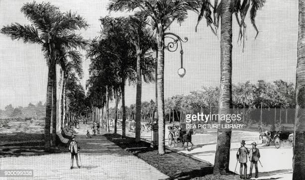 View of the Avenida Sarmiento Bosques de Palermo Buenos Aires Argentina second half of the 19th century engraving from Geographie de la Republique...