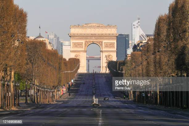 View of the Avenue Des Champs Elysees on April 05 2020 in Paris France The country is issuing fines for people caught violating its nationwide...