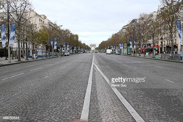 View of the 'Avenue des Champs Elysees' on November 30 2015 in Paris France