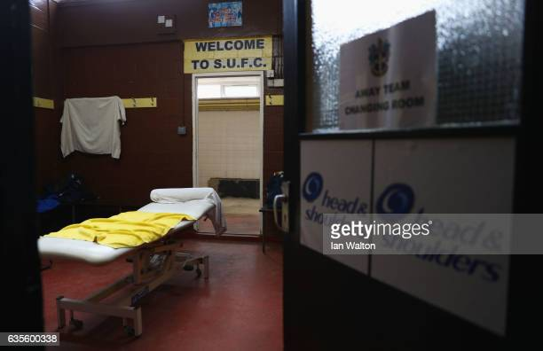 A view of the away changing room during a Sutton United FA Cup media day on February 16 2017 at the Borough Sports Ground in Sutton Greater London...