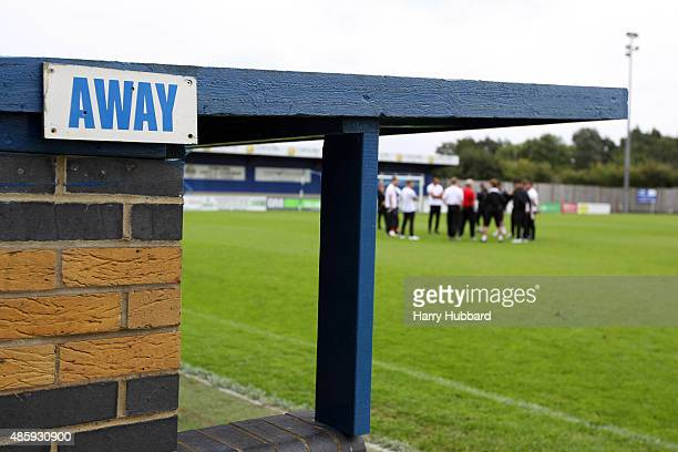 View of the away dugout before The Emirates FA Cup Qualifying Preliminary Round match between Stansted and Tilbury at The ProKit Stadium on August 30...