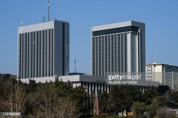 A view of the Azeri Parliament building in Baku on March 22 2019
