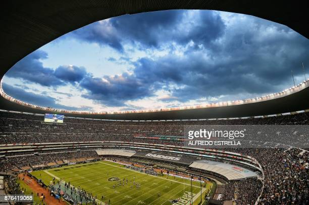TOPSHOT View of the Azteca Stadium during the 2016 NFL week 11 regular season football game between Oakland Raiders and New England Patriots' on...