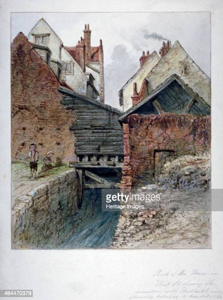 View of the back of a house in Chick Lane showing Fleet Ditch City of London 1844