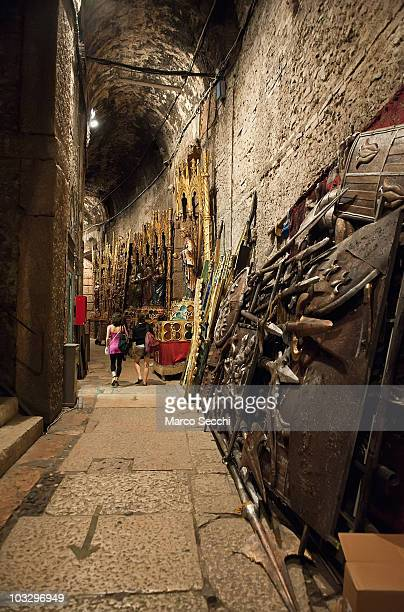 A view of the backstage at the Arena during the performance of 'Aida' on August 8 2010 in Verona Italy The city of Verona is hosting the 88th Annual...