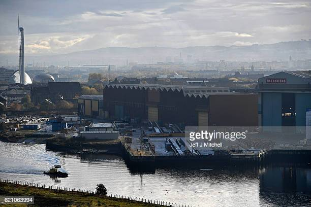 A view of the BAE Systems yard in Govan on November 4 2016 in Glasgow Scotland Work on building eight Type 26 frigates at Glasgow shipyards will...