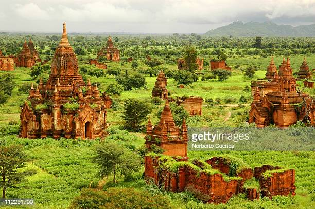 view of the bagan plain form the top of a temple - バガン ストックフォトと画像