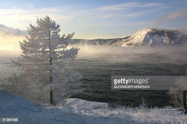 A view of the Baikal lake taken 11 December 2000 from the village of Listvyanka 70 km from Siberian city of Irkutsk Buryat ethnic Mongols settled the...