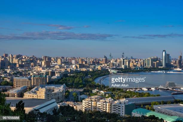 view of the baku city from the dagustu park(highland park) in baku, azerbaijan - baku stock pictures, royalty-free photos & images
