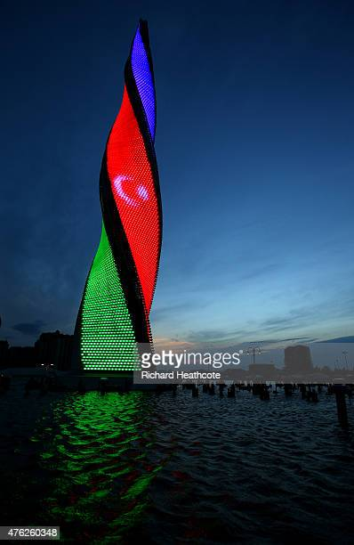 A view of the Baku Flame Fountain ahead of Baku 2015 the 1st European Games on June 7 2015 in Baku Azerbaijan
