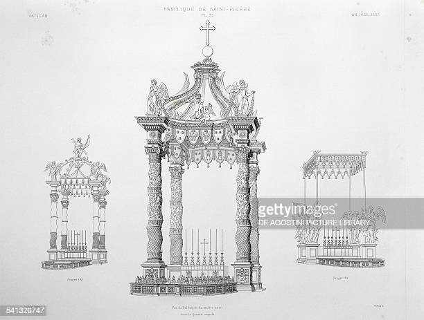 View of the baldacchino of the high altar under the great dome and on the sides Design A and Design B of the same engraving from The Vatican and St...