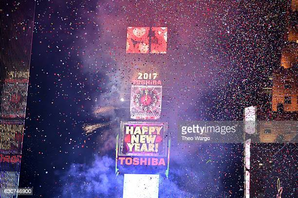 A view of the ball dropping during New Year's Eve 2017 in Times Square at Times Square on December 31 2016 in New York City