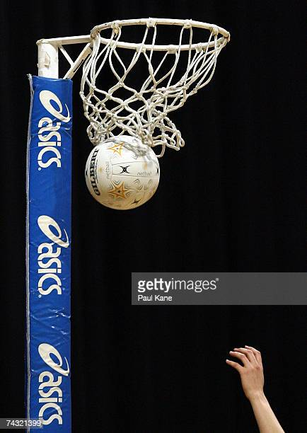 A view of the ball passing through the net during the week five Commonwealth Bank Trophy match between the Perth Orioles and the Adelaide...