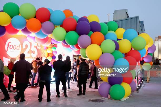 A view of the balloon covered entrance at Food Network's 25th Birthday Party Celebration at the 11th annual New York City Wine Food Festival at Pier...