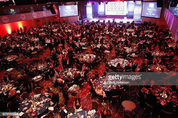 View of the ballroom at the USO 75th Anniversary Armed Forces Gala Gold Medal Dinner at Marriott Marquis Times Square on December 13 2016 in New York...