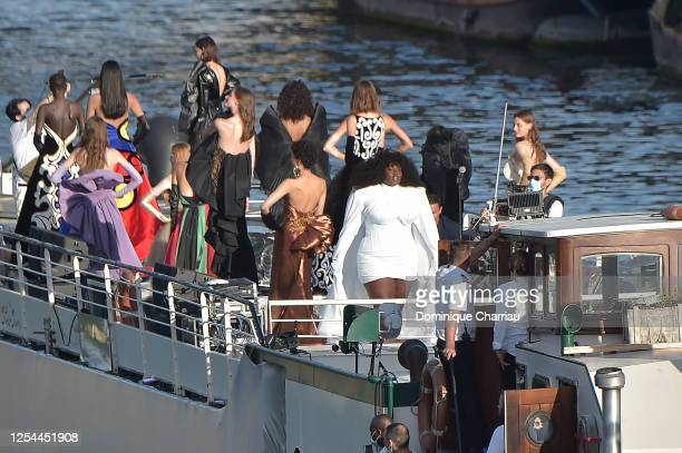 View of the Balmain sur seine Fashion show that was held on a penicheboat on the seine river to celebrate the 75th anniversary of the brand on July...