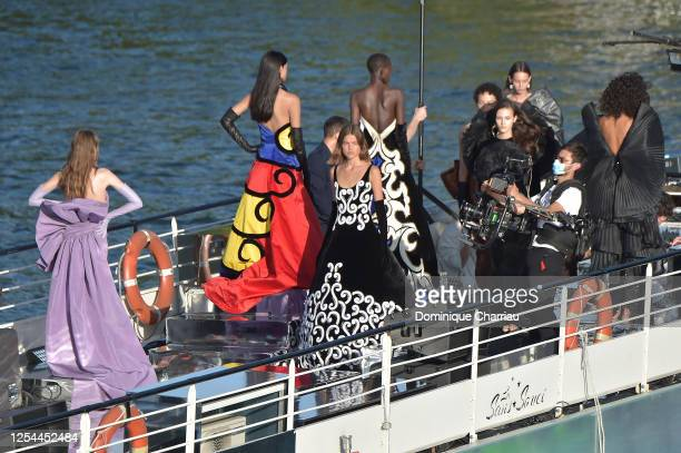 """View of the """"Balmain"""" sur seine"""" Fashion show that was held on a """"peniche""""boat on the seine river to celebrate the 75th anniversary of the brand on..."""