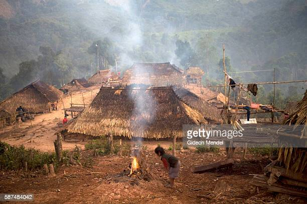 A view of the Ban Nam Lai Akha village at dawn The Akha are a hill tribe of subsistence farmers known for their artistry This is one of the...